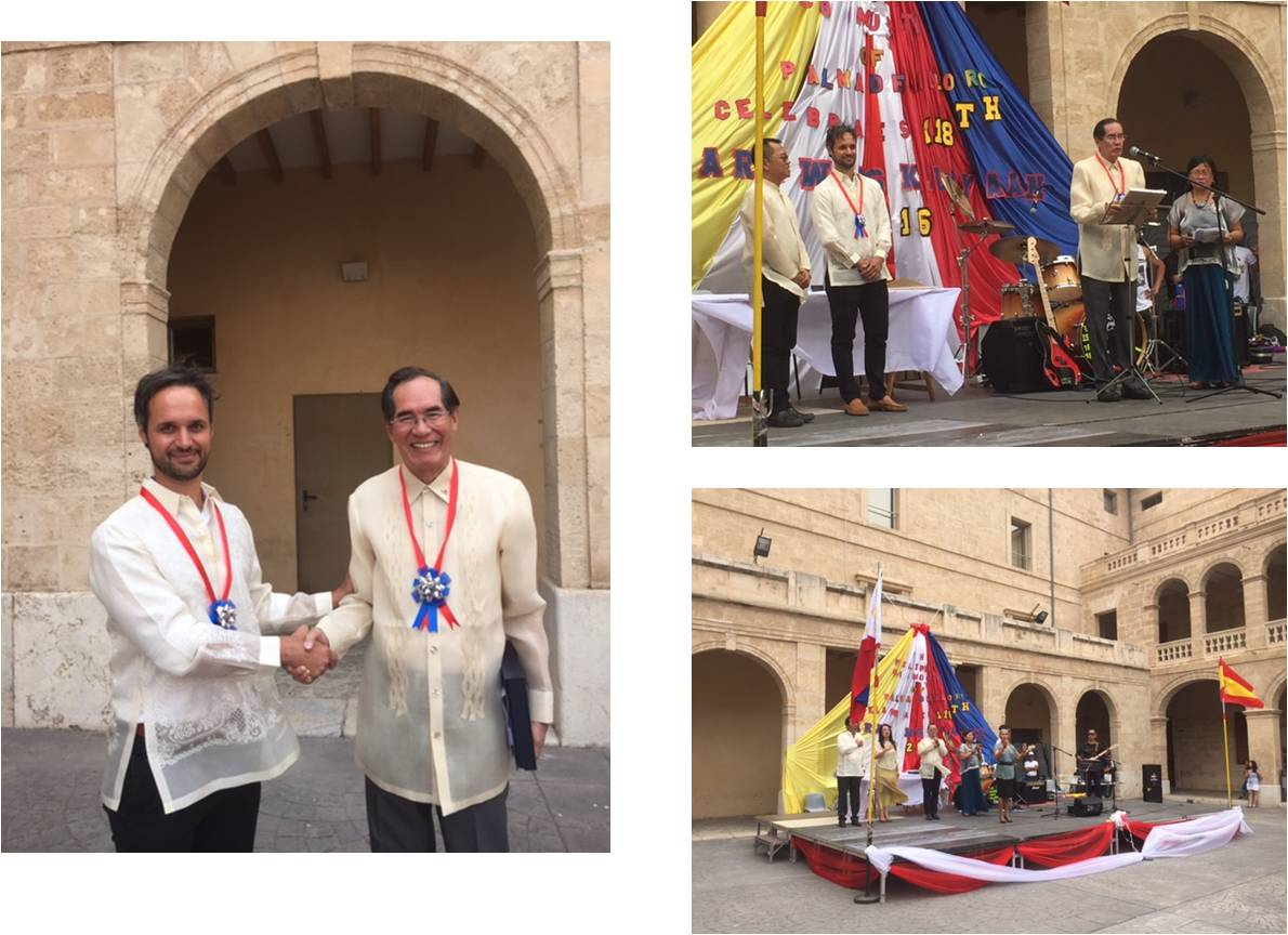 Photos: L-R Consul Pablo Martín Peré and Ambassador Carlos C. Salinas; Ambassador Salinas delivering his address to the Filipino Community; and a FilCom group rendering a special number.