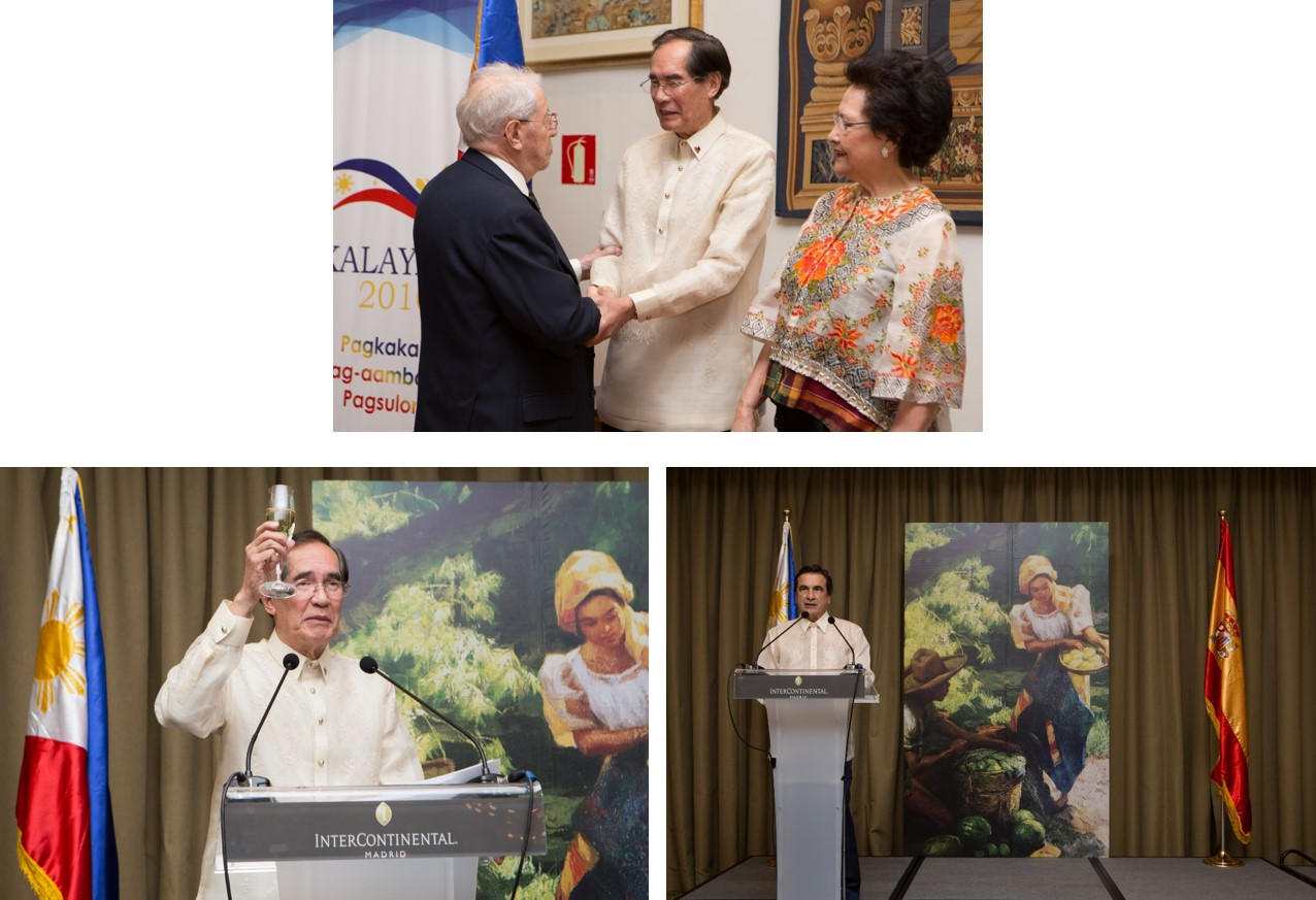 All photos are by Jenny Peña. Top to bottom: Ambassador and Mrs. Salinas receiving guests; Ambassador Salinas giving his speech; and Director General Fidel Sendagorta Gómez del Campillo delivering his message.