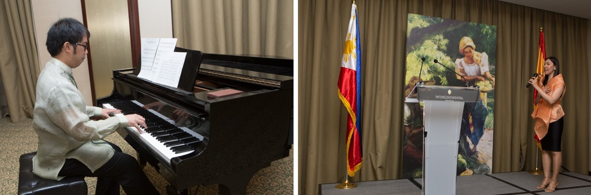 Ms. Aniway Adap and Mr. Laurence Aliganga performing the national anthems of the Philippines and Spain.