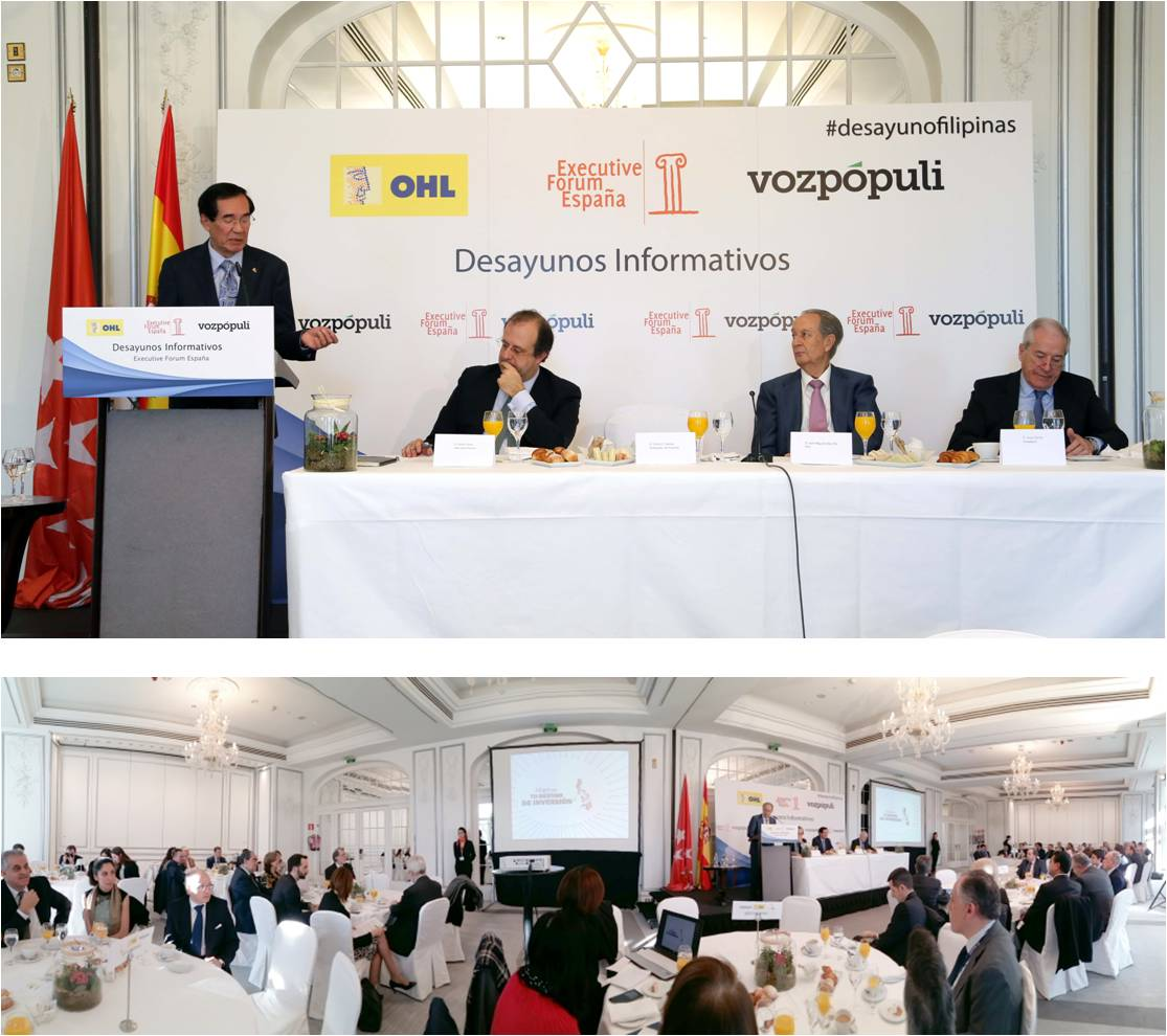 Photos courtesy of Executive Forum España. L-R: Ambassador Carlos C. Salinas, Executive Forum España Director Cesar Chiva, OHL Presidente Juan Miguel Villar Mir, and Voz Populi Director Jesús Cacho.