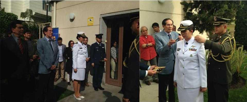 (L-R) The officers and staff of the Philippine Embassy in Madrid witnessed the Donning of Ranks Ceremony. Ambassador Carlos C. Salinas led the Donning of Ranks on Commander Leah G. Estabillo, PN, assisted by Defense Attaché Colonel Romulo A. Manuel, Jr. PA /GSC.