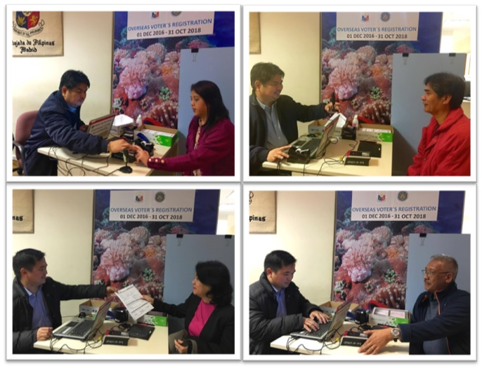 Clockwise: Ms. Helen Prebagren, Attaché of the Embassy, was the first registrant of the day. An OFW from Pangasinan was also one of the early registrants.  Mr. Arc Remus Nolido and his spouse Ms. Nesa Nolido, POLO OIC and Welfare Officer, also did not miss their opportunity to register early.