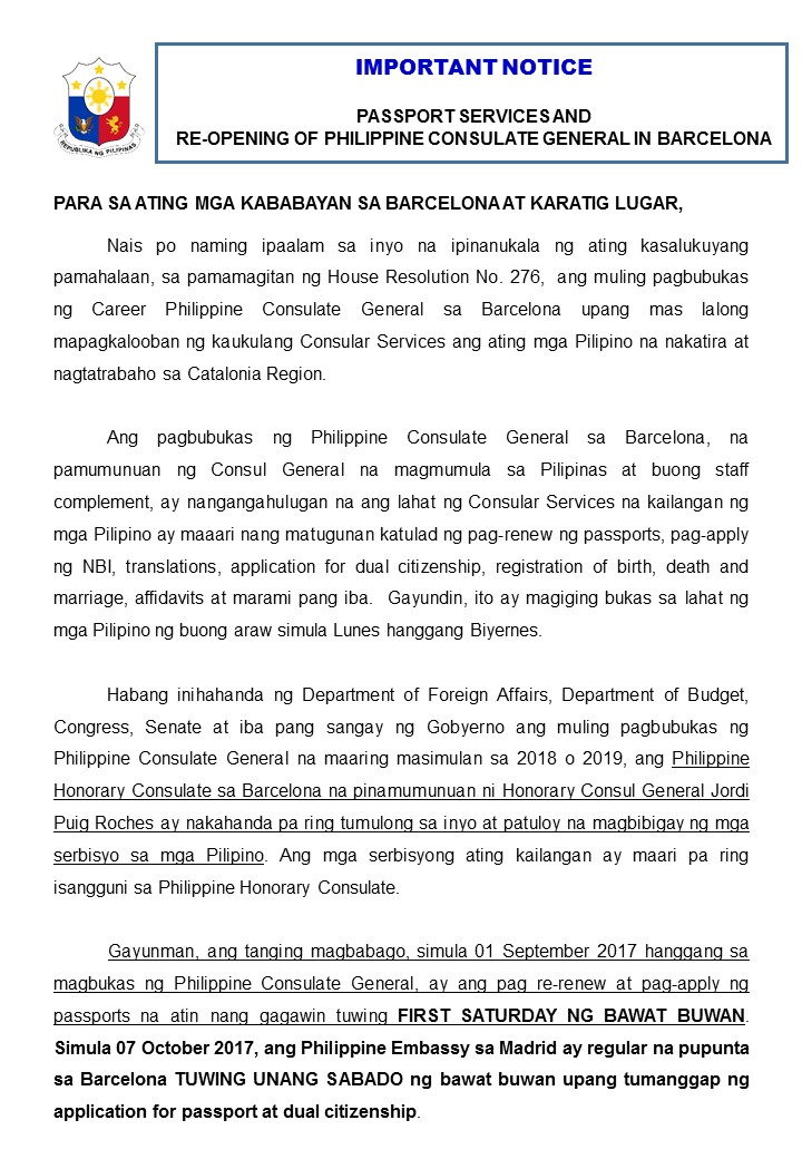 Re-opening of Philippine Consulate General in Barcelona