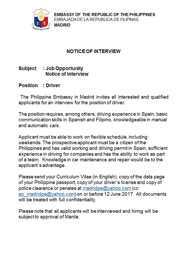 driver job description philippines
