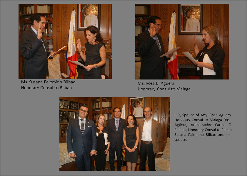 Ambassador Salinas Swears In New Phl Honorary Consuls For Bilbao And Malaga