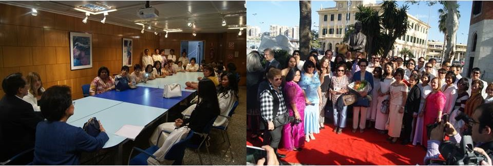 L-R: Meeting with the Filipino Community in Malaga, and Filipinos in Malaga at the inauguration of the monument of Dr. Jose Rizal in Malaga.