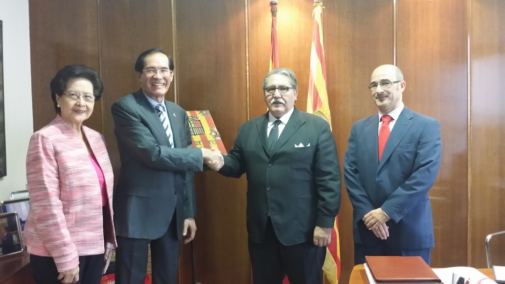L-R. Mrs. Isabelita T. Salinas, Ambassador Carlos C. Salinas, Mr. Manuel Teruel, President of the Chamber of Commerce of Zaragoza, and Mr. Jesus Santander, Director for International Trade of the Government of Aragon.