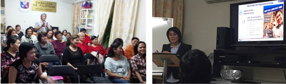 SSS Representative Jonnah Cruzada addresses a question from the audience.