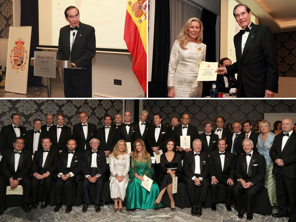 Photos courtesy of the Academia from L-R and bottom: Ambassador Carlos C. Salinas delivering his acceptance speech. Ambassador Salinas receiving the certificate from Ms. Sofía de Borbón, President of the Academia, and a group photo of all the awardees together with the officers of the Academia