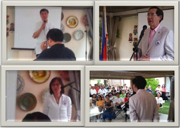 Clockwise from upper left: Chargé d´Affaires Emmanuel R. Fernandez delivering his remarks; the Guest of Honor, Ambassador Carlos C. Salinas, giving his message; Labor Attaché and Welfare Officer Ma. Elvira A. Ador addressing the Filcom leaders.
