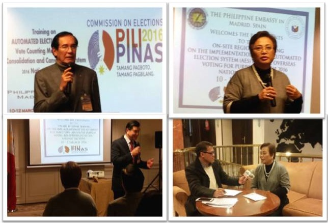 L to R: H.E. Ambassador Carlos C. Salina; Hon Commissioner Rowena Amelia Guanzon; Commisioner Guanzon answering questions from the media; Minister and Consul General Emmanuel R. Fernandez.