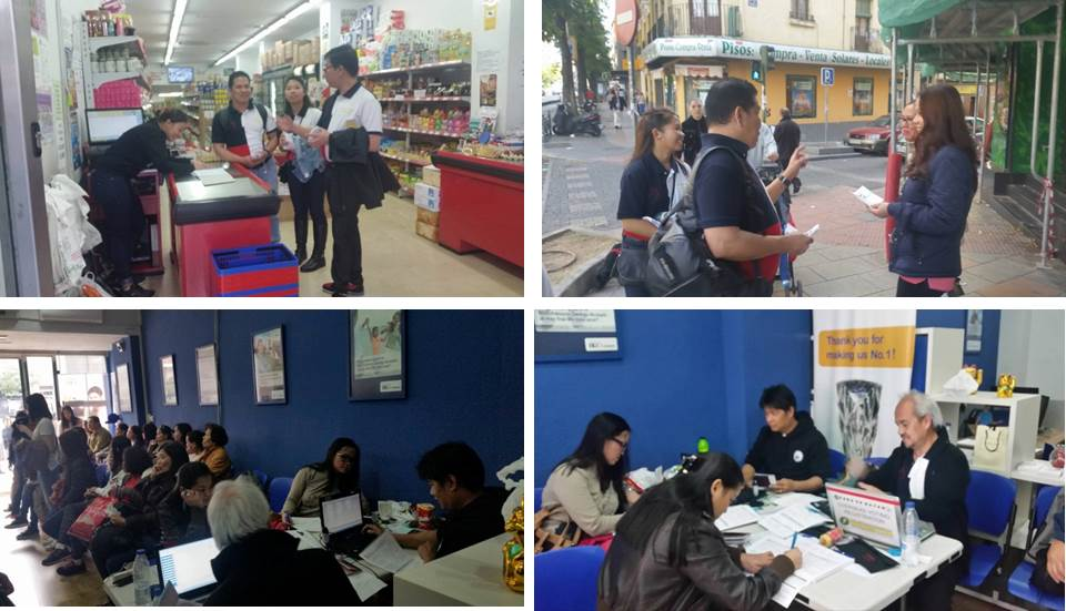 Philippine Embassy personnel distributed flyers in the streets of Madrid and in business establishments frequented by Filipinos to encourage them to register on the last day of the registration period. Mobile registration sites were also opened for Filipinos who wanted to register.