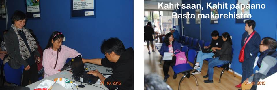 (Photos, L to R) Ms. Analine Macaraig was the last registrant in Madrid. OVR Team conducted registration everywhere, with or without table, as the above photo shows.
