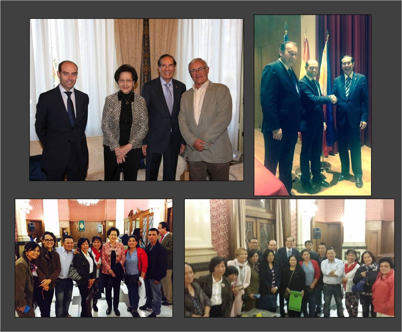 Clockwise: Consul, a.h., Manuel Carrión, Mrs. Isabelita T. Salinas, Ambassador Carlos C. Salinas, Valencia Mayor Joan Ribó Canut; Vice President of Ateneo Mercantil de Valencia Enrique Mora, Cónsul Carrión and Ambassador Salinas; Amb. and Mrs. Salinas with members of the Filipino Community in the region of Valencia.