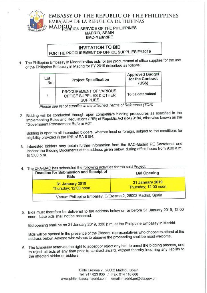 Invitation to Bid: Office Supplies 2019   Philippine Embassy
