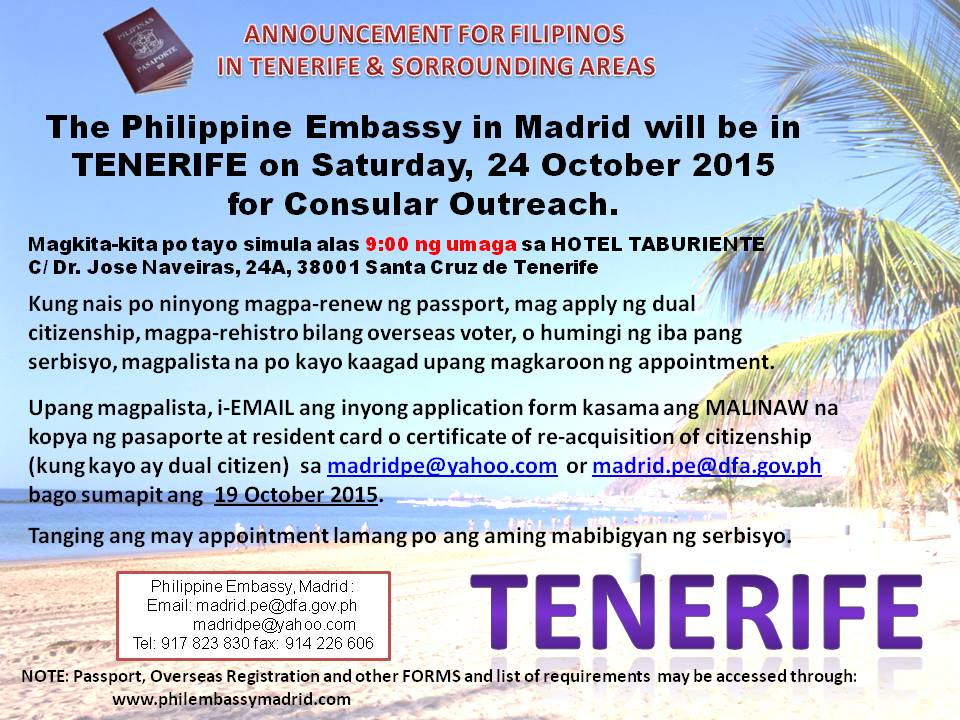 PE Madrid visits Tenerife – 24 October 2015 | Philippine